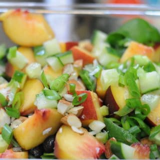 Black Bean Peach Salad with Cilantro Lime Dressing