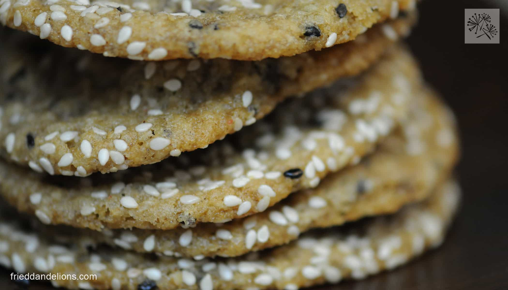 Salted Sesame Cookies with Dark Chocolate Chips - Fried Dandelions