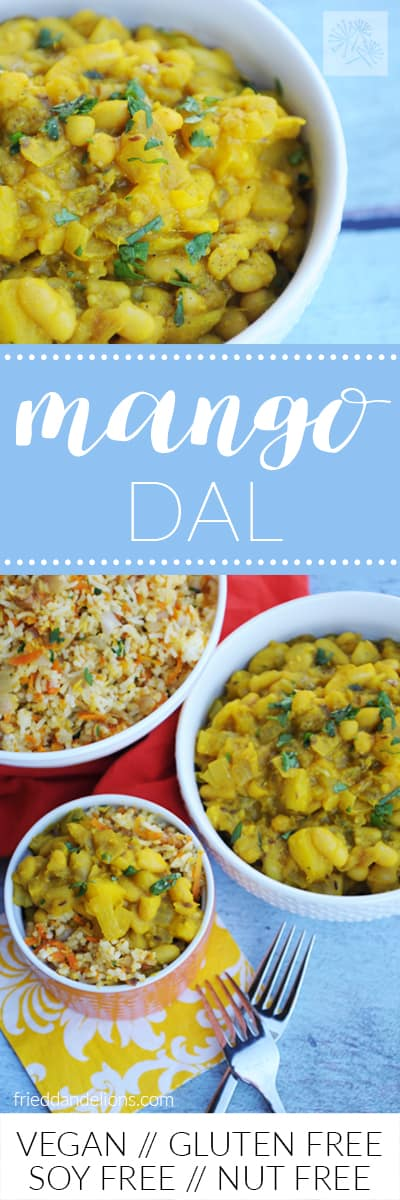 fried dandelions // mango dal