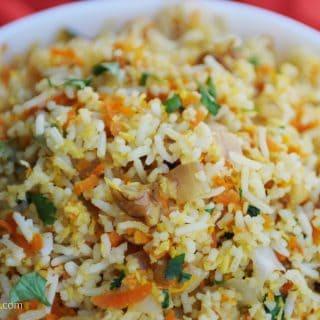 fried dandelions // coconut carrot rice