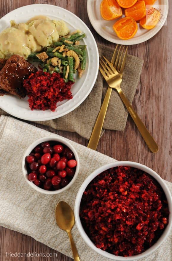 fried dandelions // cranberry orange relish