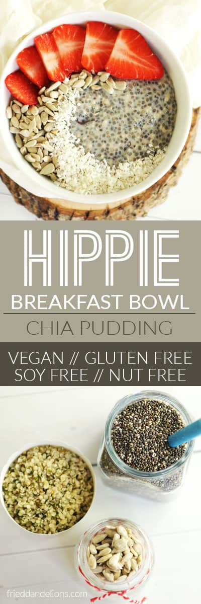 This chia pudding is a total Hippie Breakfast Bowl—packed with nutrients to get your day off to a good start! (vegan, soy free, gluten free, nut free, paleo, no refined sugar)