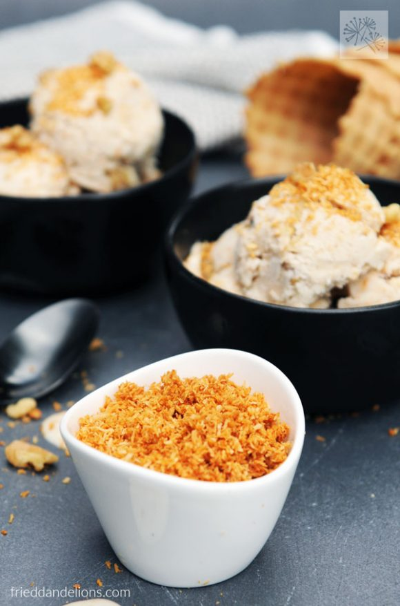close up of vegan coconut bacon with Maple Bacon Ice Cream in black bowls in background