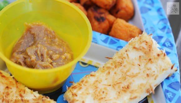 fried dandelions // peanut butter dip