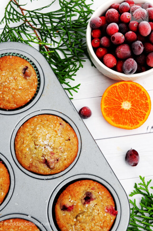 overhead view of vegan cranberry orange muffins with bowl of cranberries, sliced orange, evergreen branches, and white background