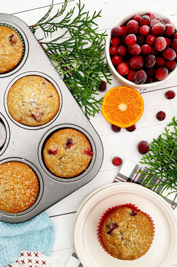 overhead view of vegan cranberry orange muffins with bowl of cranberries, evergreen branches, and white background