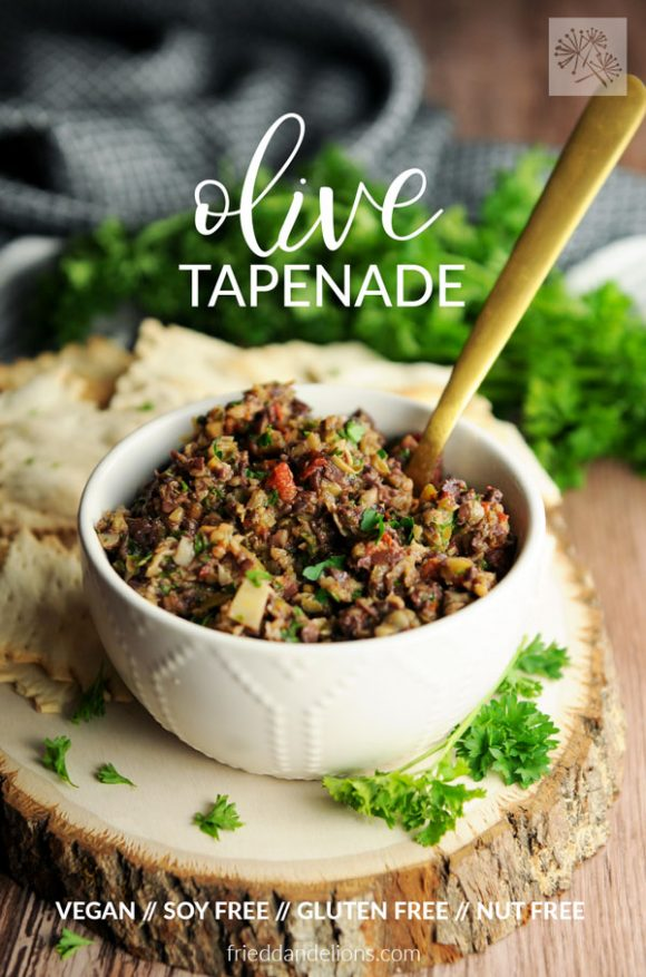 bowl of olive tapenade with text