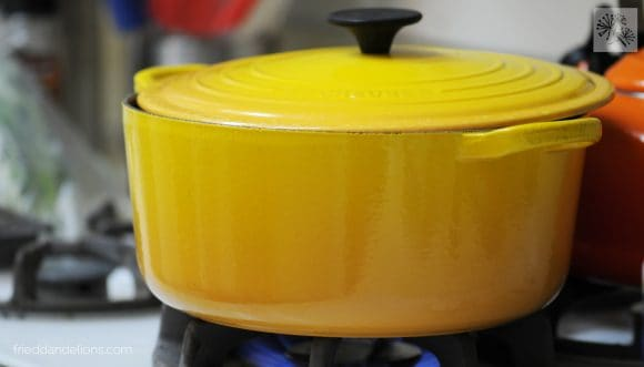 Le Creuset Dutch oven pot used for making vegan French Onion Soup