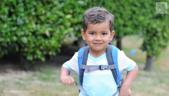 David on his first day of preschool, age 3