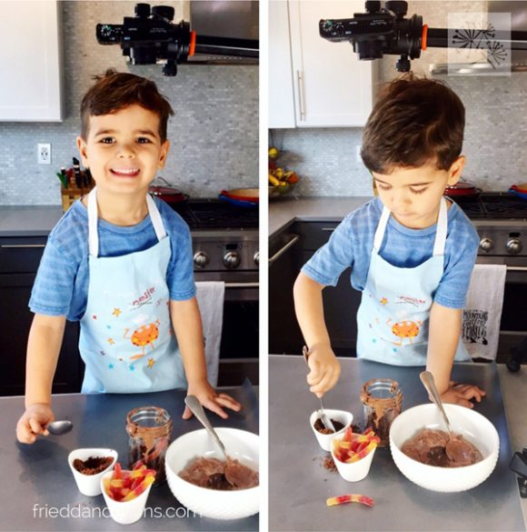 young boy making vegan dirt cups
