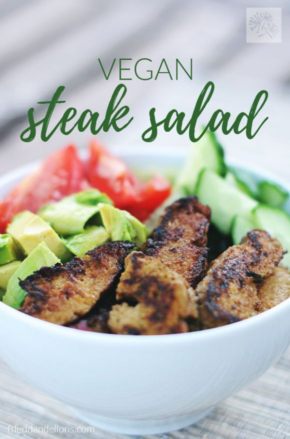 close up view of bowl of vegan steak salad, light background, and text overlay