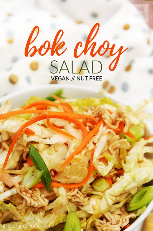 bowl of Bok Choy Salad with text overlay and white napkin in background