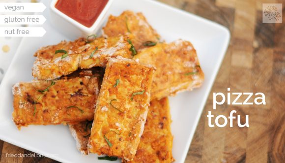 All the flavors of pizza in a crispy bite of tofu! These homemade Pizza Tofu nuggets are sure to be a hit with your kids! (vegan, gluten free, nut free)