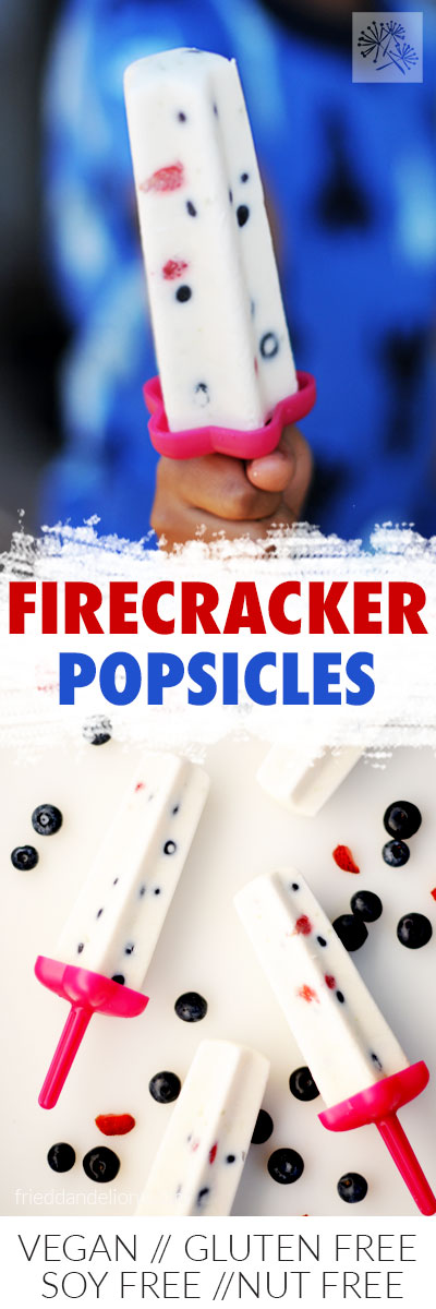 boys hand holding 1 firecracker popsicle and overhead shot of Firecracker Popsicles with berries on white background