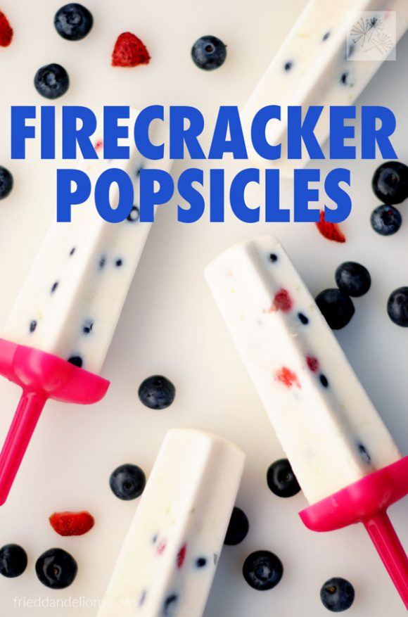 overhead view of 4 Firecracker Popsicles with berries on white background and text
