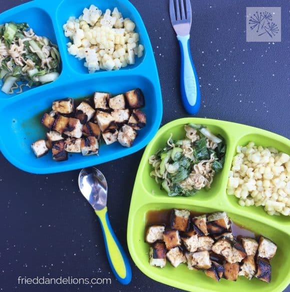 two children's plates of Bok Choy Salad with tofu