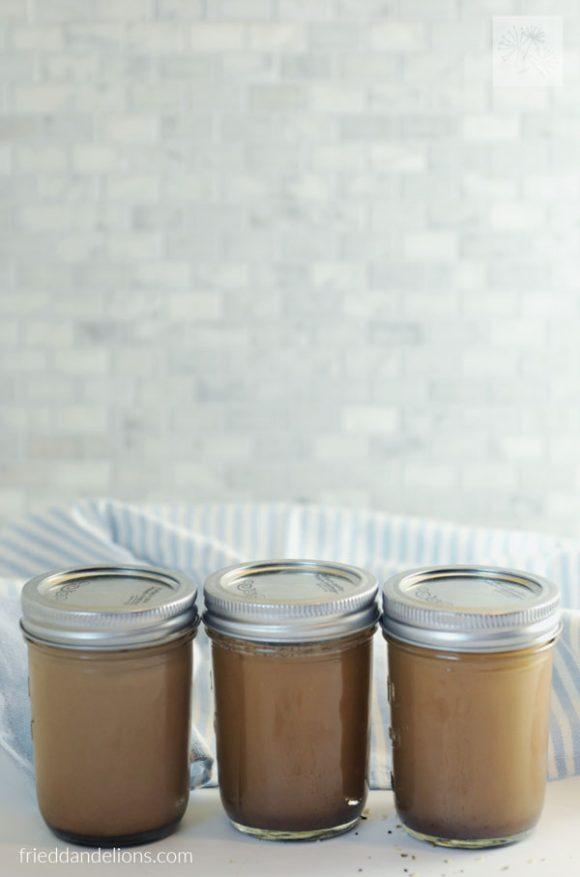 3 mason jars of cold brew coffee milk