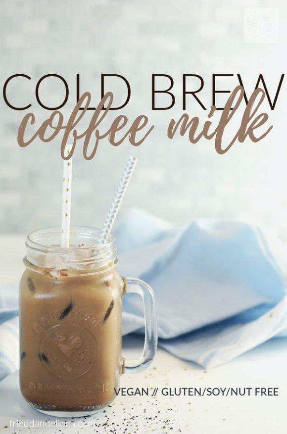 mason jar mug of cold brew coffee milk with text overlay