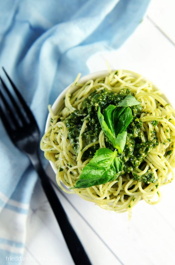 bowl of Vegan Pesto with blue napkin and black fork