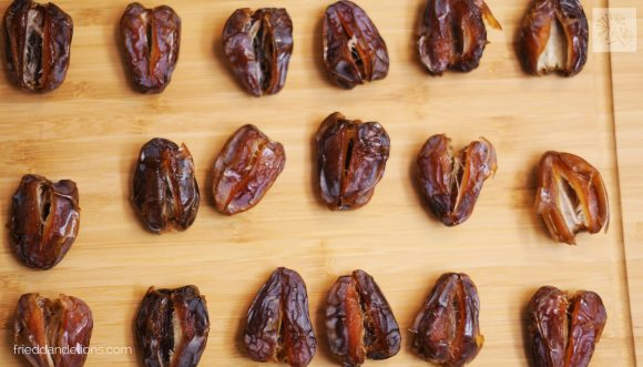 overhead shot of dates for tahini bon bons