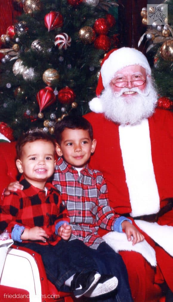 picture of two young boys with Santa