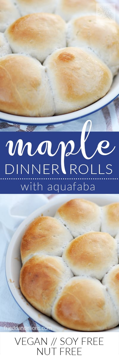 two collaged images of maple dinner rolls with aquafaba with text overlay