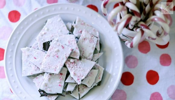 overhead view of plate of dairy free peppermint bark