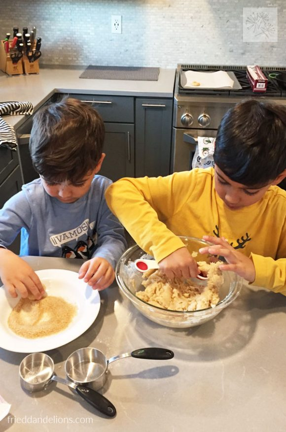 two boys making My Favorite Vegan Cookies