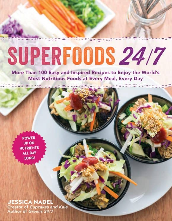 Superfoods 24/7 cookbook with orange cacao vegan scones recipe