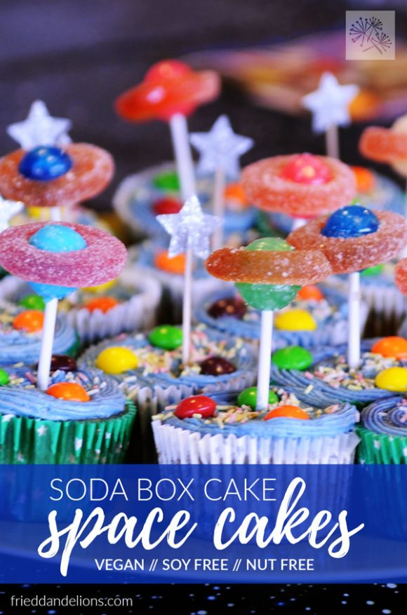 cupcakes made with Soda Boxed Cake Mix Hack with space planet decorations