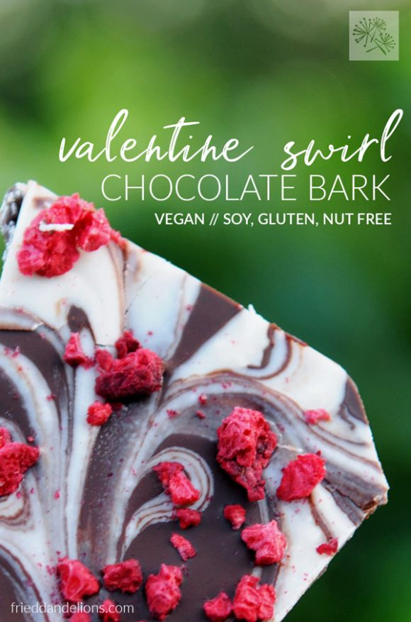 close up of Valentine Swirl Chocolate Bark with text overlay
