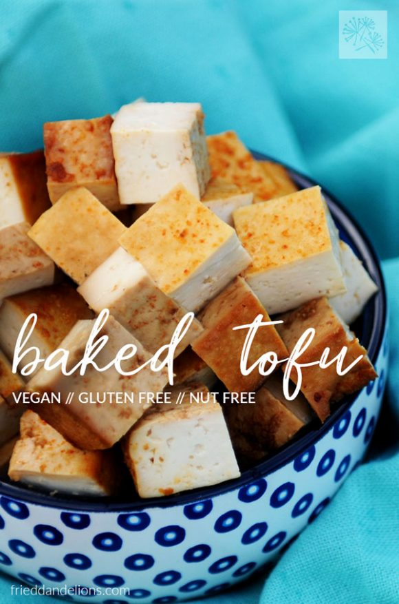 blue and white bowl of baked tofu with text overlay