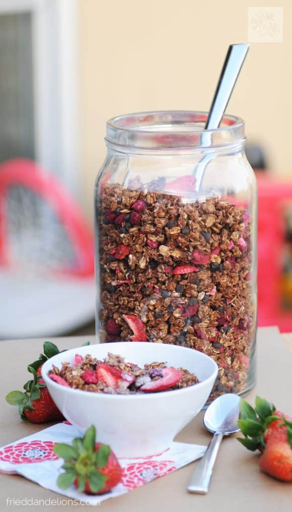 jar of chocolate crunch granola with bowl in front