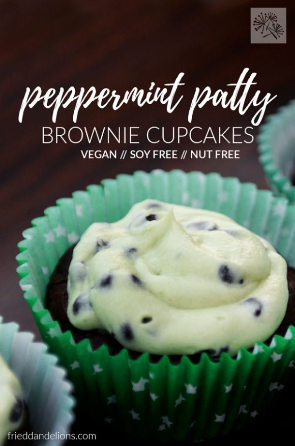 close up of vegan peppermint patty brownie cupcakes with text overlay