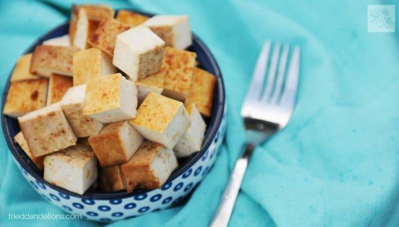 fried dandelions // baked tofu