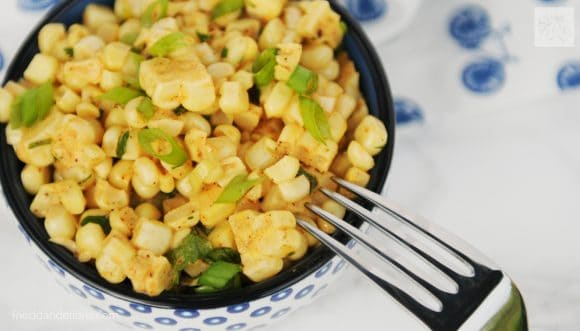 bowl of elote corn salad for vegan taco Tuesday