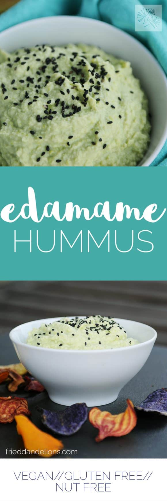 fried dandelions // edamame hummus