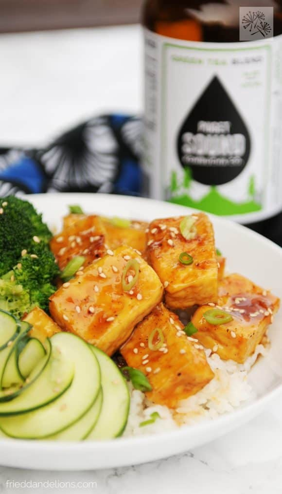 How to Become a Vegan - teriyaki tofu with kombucha in background