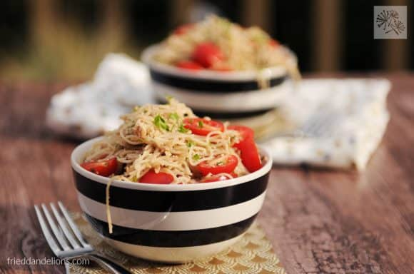 fried dandelions // walnut feta pesto