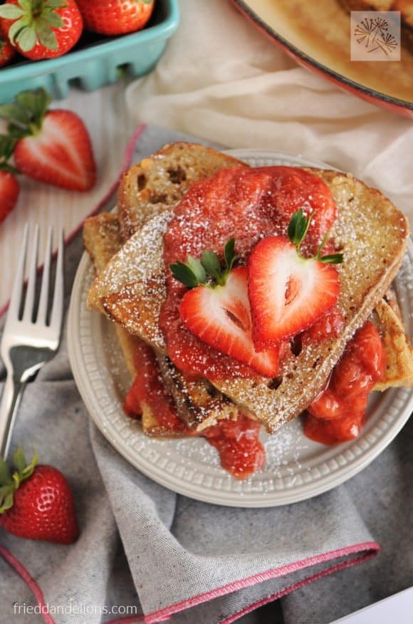My Favorite Vegan Holiday Recipes — Vanilla French Toast with Strawberry Sauce