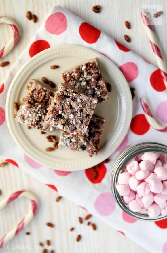 fried dandelions // chocolate peppermint vegan rice crispy treats