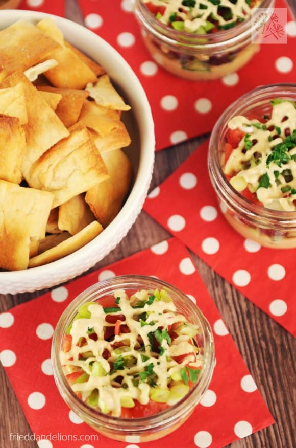 My Mediterranean Seven Layer Dip is sure to be a hit at your next party! (vegan, gluten free, nut free, soy free option)