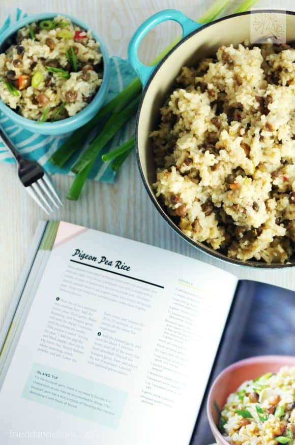 Pigeon Pea Rice is a classic Caribbean dish packed with flavor! You'll love this dish from the new book Caribbean Vegan by Taymer Mason. (vegan, soy free, nut free, gluten free)