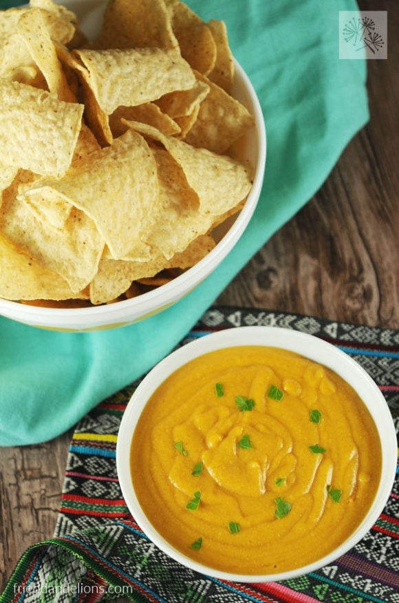 Vegan Queso Dip in 5 minutes! This easy recipe is so versatile—you'll find yourself using it to top everything! (vegan, soy free, nut free)