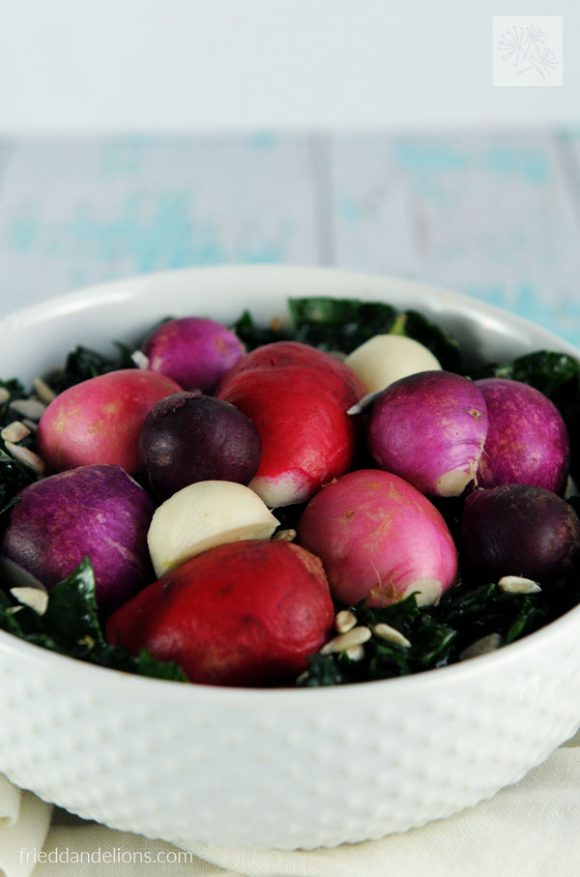 Easter Egg Radishes in Kale Salad with Strawberry Vinaigrette (vegan, gluten free, soy free, nut free)