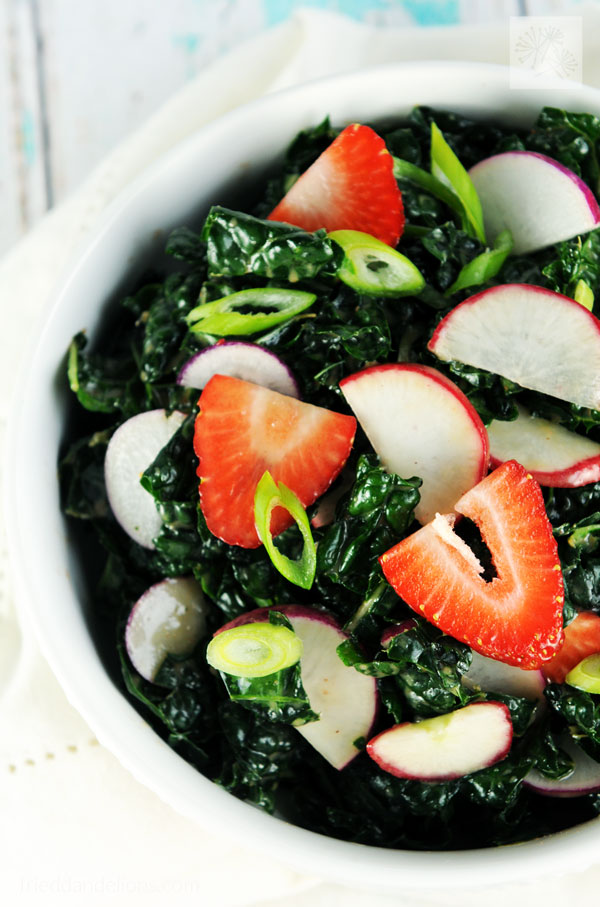 Kale Salad with Strawberry Vinaigrette - Fried Dandelions