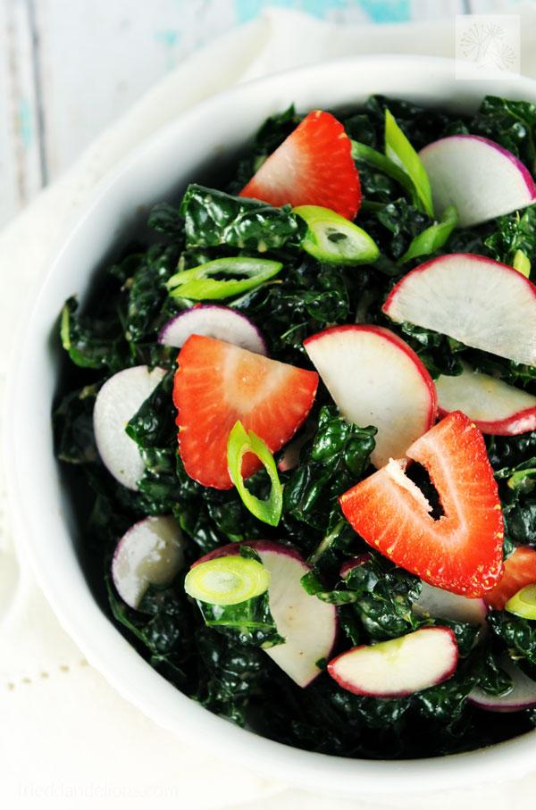 Kale Salad with Strawberry Vinaigrette - Fried Dandelions