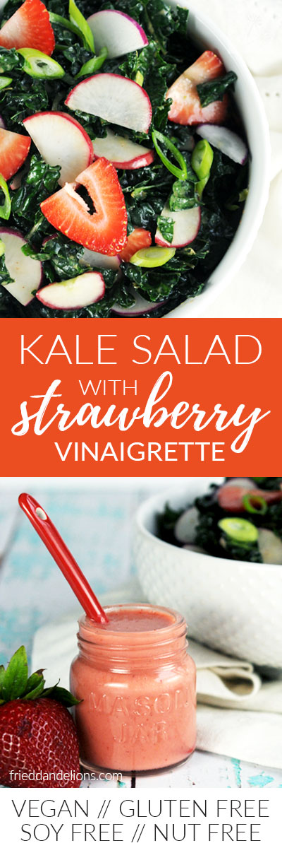 Collage of Kale Salad with Strawberry Vinaigrette (vegan, gluten free, soy free, nut free)