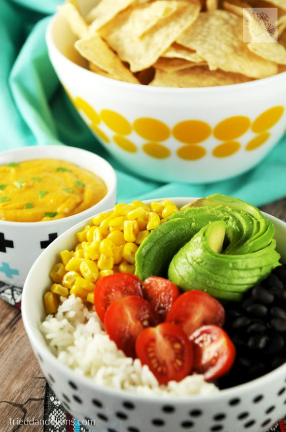 easy vegan nacho bowl with chips, no queso