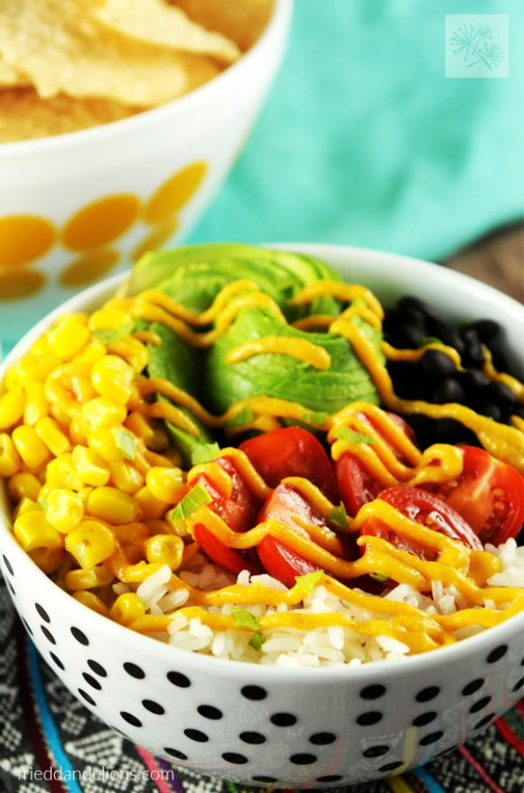 easy vegan nacho bowl with queso